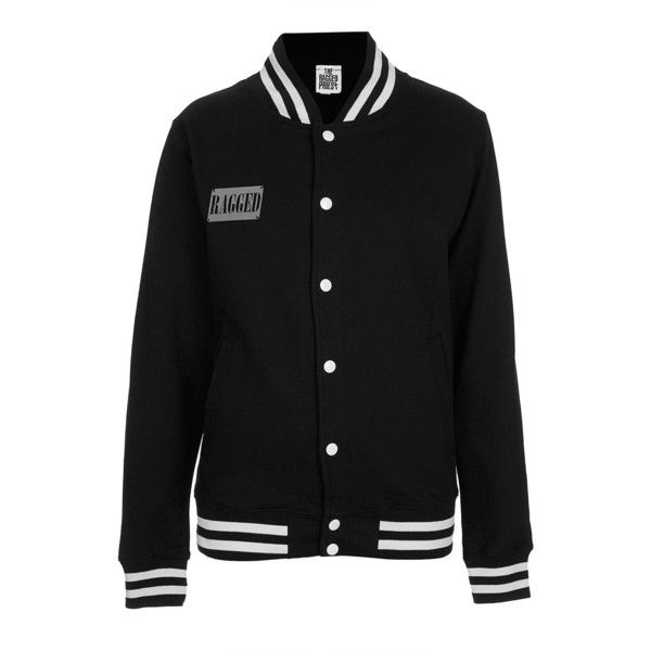 **Baltimore Jacket by The Ragged Priest (£30) ❤ liked on Polyvore featuring outerwear, jackets, black, varsity jacket, teddy jacket, varsity-style bomber jacket, letterman jackets and cotton varsity jacket