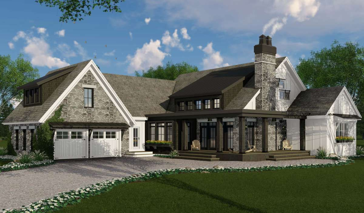 House Plan 098-00301 - Modern Farmhouse Plan: 2,483 Square Feet, 3 Bedrooms, 2.5 Bathrooms