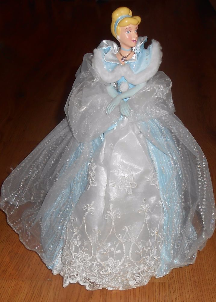 VTG 90's Disney Princess Cinderella Christmas Tree Topper Lighted Blue Gown #Disney