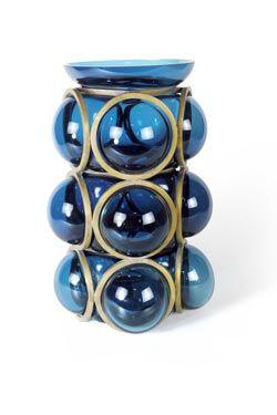 vase haut circle en verre souffl bleu canard anneaux en bronze dor structure g om trique. Black Bedroom Furniture Sets. Home Design Ideas