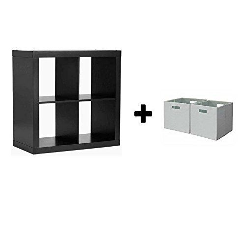 Better Homes And Gardens Bookshelf Square Storage Cabinet 4 Cube Organizer Solid Black With Bin