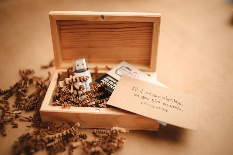 Wood Promotional Flash Drive With Matching Brown Confetti And Box Packaging