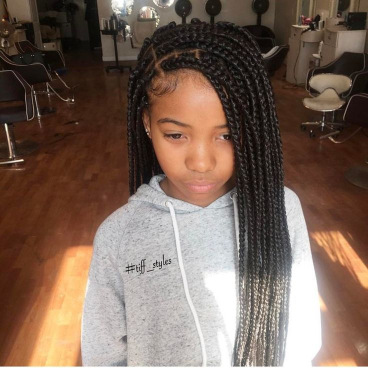 Childish Style Applied On Box Hair Braids Girls Hairstyles