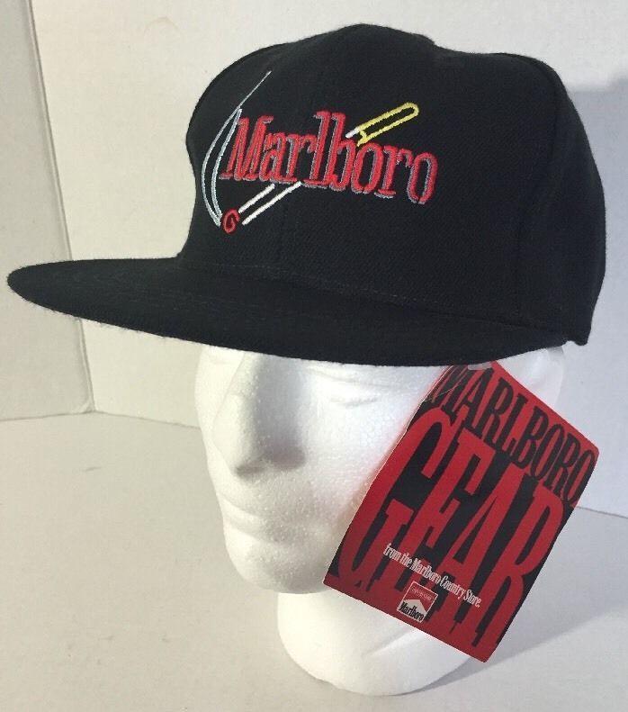 2391a6ea659 Vintage Marlboro Cigarettes Embroidered Black Strapback Dad Hat Cap NEW W   Tags  CAP  BaseballCap