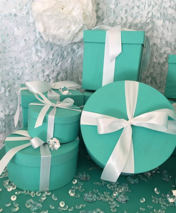 6inch Round Turquoise Gift Box Centerpiece With Ribbon Turquoise Gift Round Gift Boxes Gifts