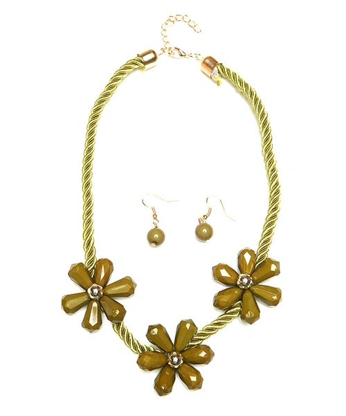 Beaded Flower necklace - color silk cord