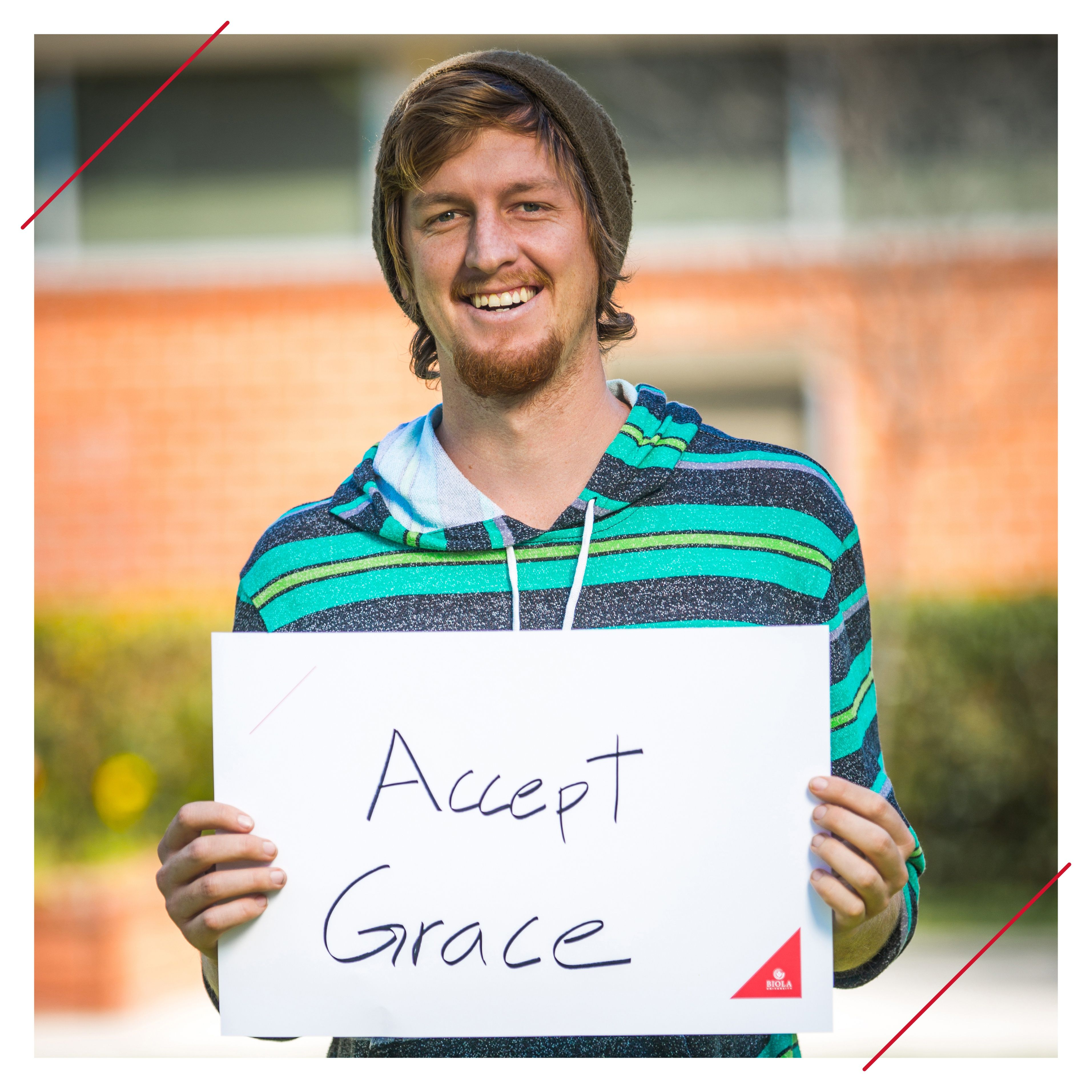 """Because of Biola, I #HaveTheCourage to accept grace."" – Johnathan Burkhardt, journalism & integrated media  #ConvictionAndCourage #JoinBiola http://bit.ly/1zNWihZ"