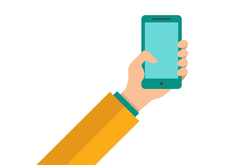Hand Holding a Smartphone Flat Vector | http