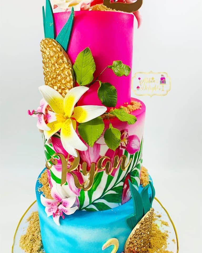 Superb Tropical Birthday Cake Made By Abbias Delight In Houston Tx Personalised Birthday Cards Veneteletsinfo