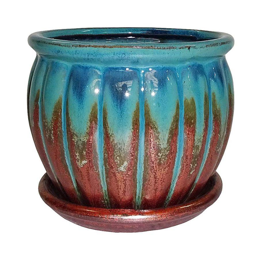 Great Garden Treasures 4.72 In X 4.72 In Copper Green Ceramic Planter