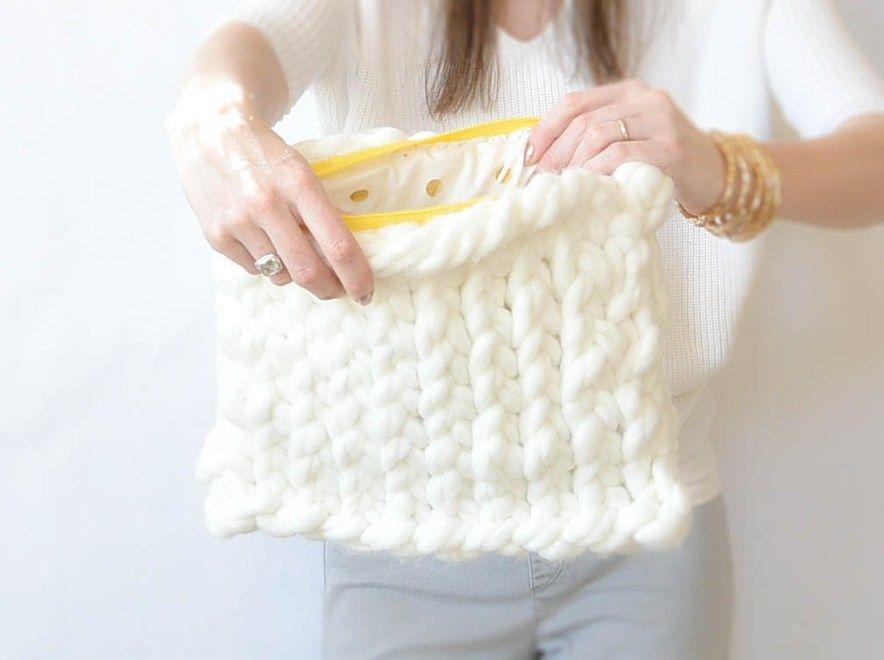 Giant Yarn Plush Knit Bag Pattern Knitting Patterns Pinterest