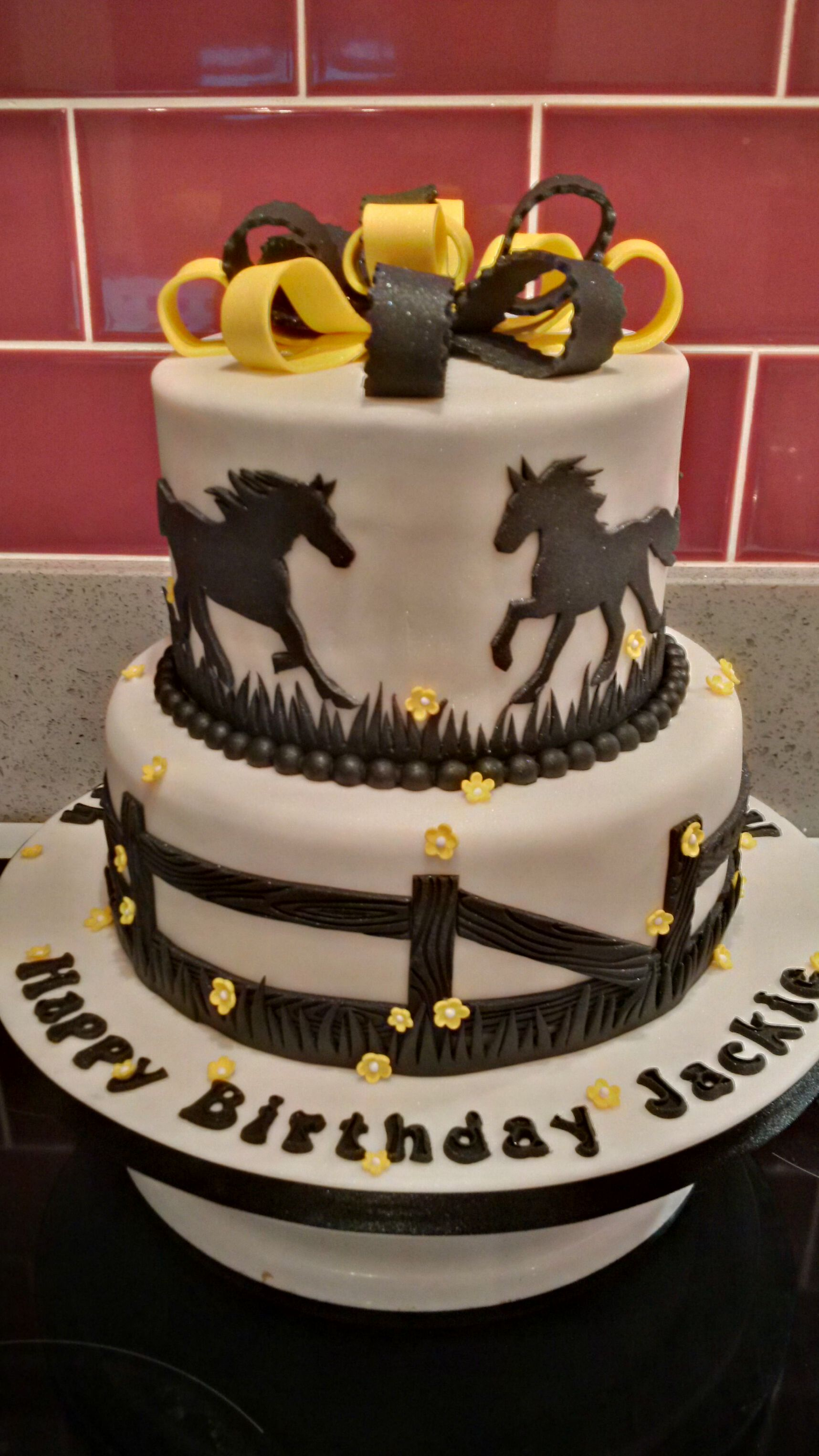 Horse Themed Black Silhouette Double Sided Birthday Cake Horse