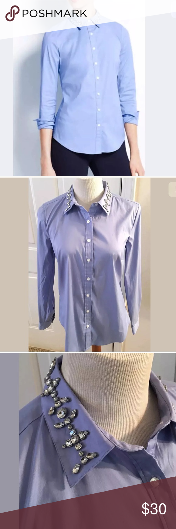 87f6ac22 Ann Taylor jeweled collar blue dress shirt size 8 New with tags, perfect  for the office or anywhere you want to add a bit of personality. Great shirt .