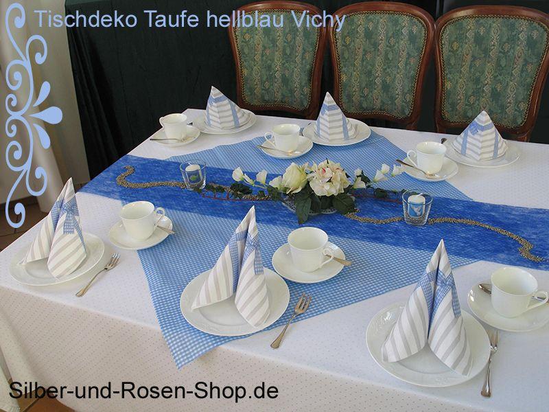Mitteldecke Vichy hellblau Airlaid 80 x 80 cm und passende Deko hier bestellen!