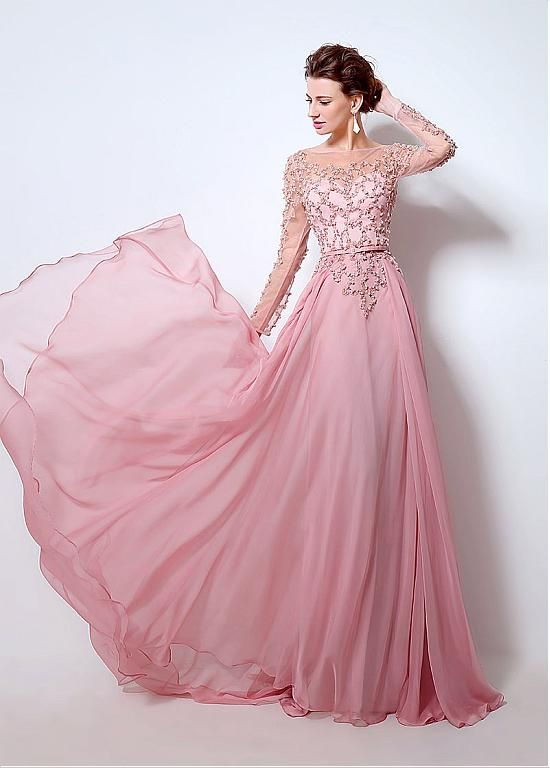1339145f183 Click to Buy    Cecelle 2016 Blushing Pink Sparkly Beaded A-line Chiffon  Prom Dresses Long Sleeves Sheer Real Evening Gowns vestido de festa   Affiliate