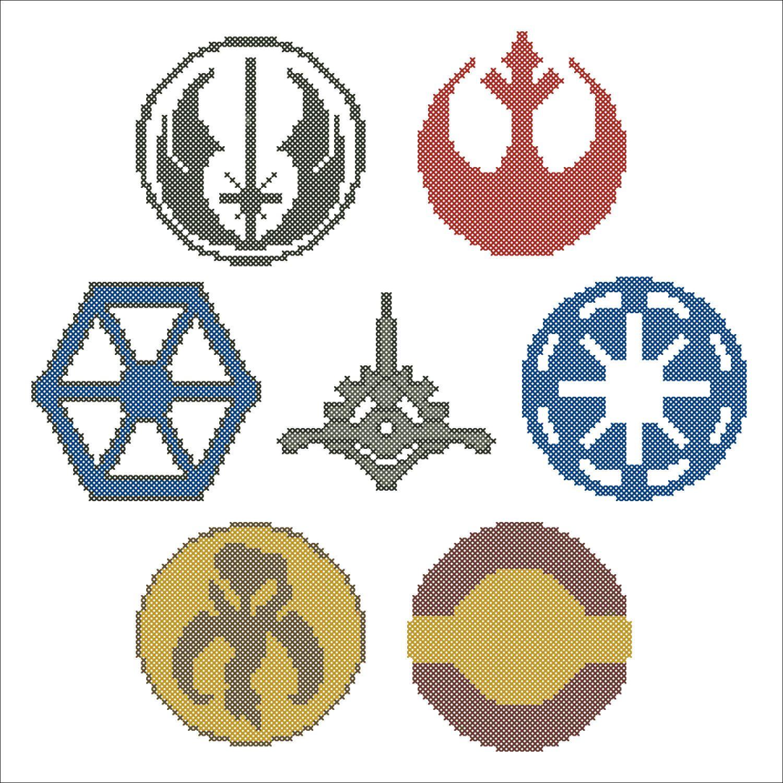 Cross stitch - STAR WARS Symbols -Rebel Alliance -Mandalorians ...