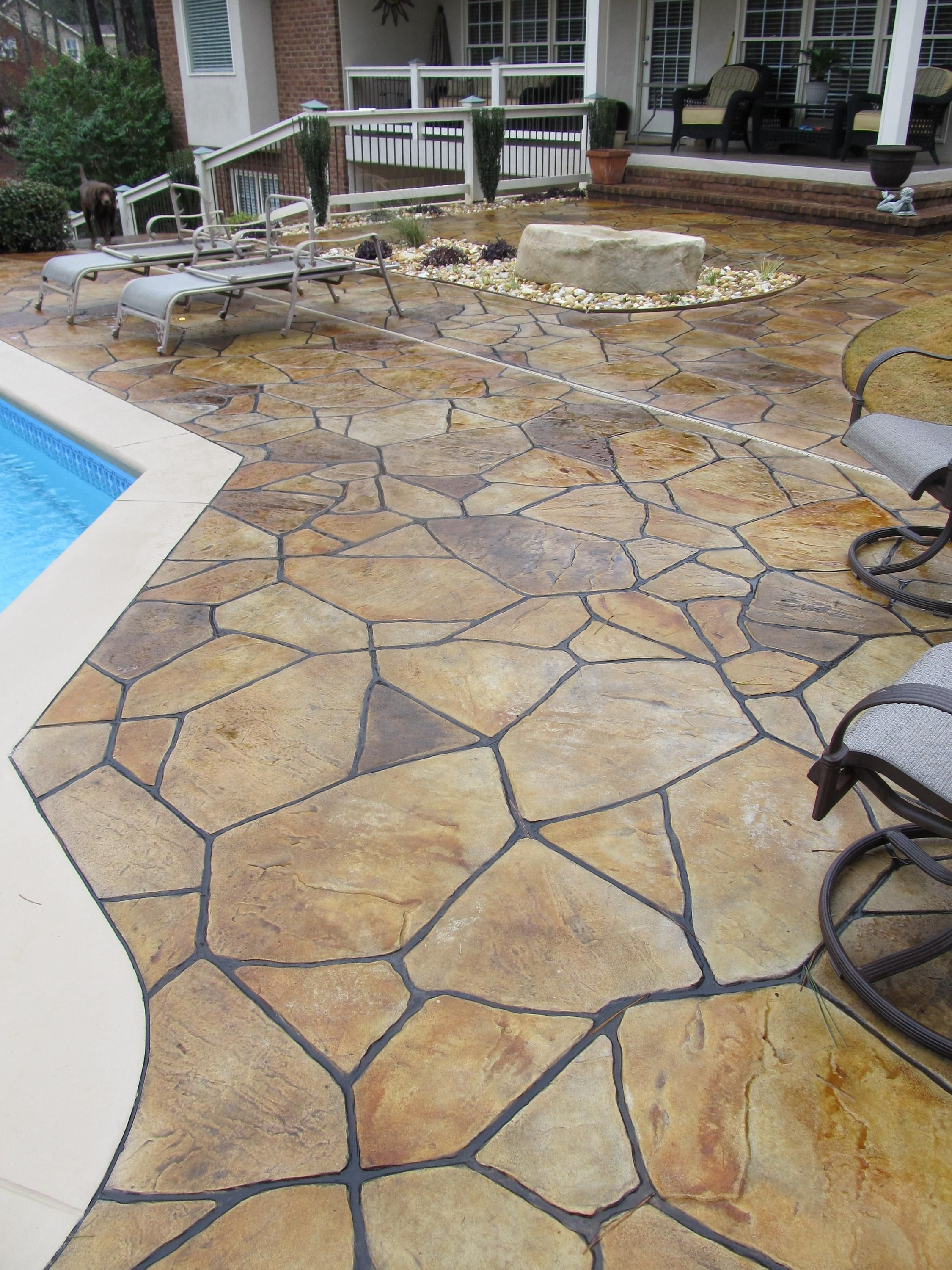 Charming Multi Color Flagstone Overlay Over Existing Pool Deck With Smooth Border