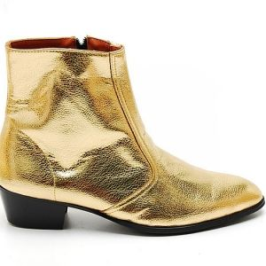Mens Glitter Gold Western zipper Mid-Calf Ankle Boots | Paul and ...