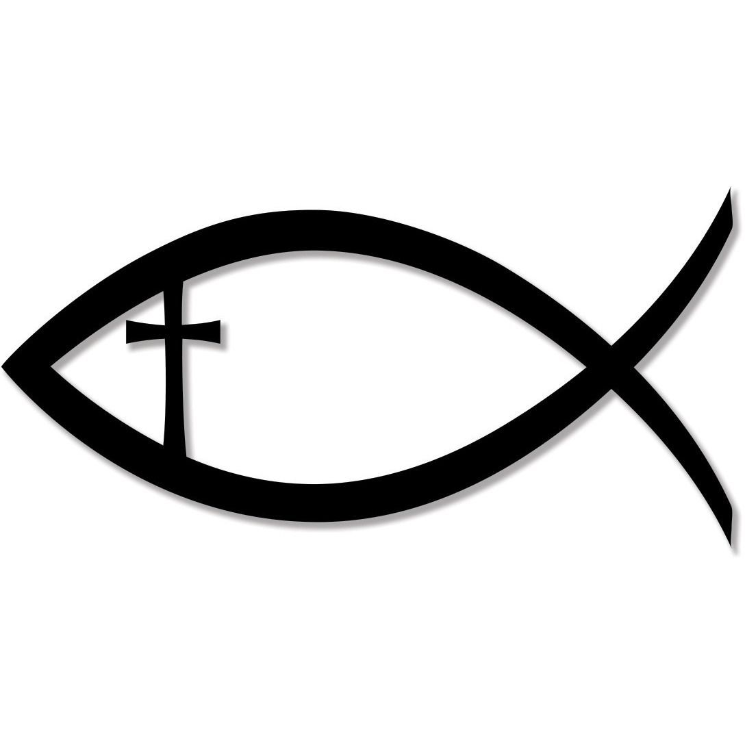 christian fish jesus christ cross faith religion bumper sticker decal christ cross. Black Bedroom Furniture Sets. Home Design Ideas