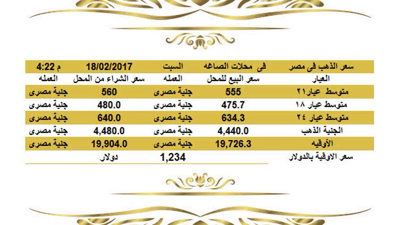 سعرالذهباليومفيمصرالسبت18 2 2017مقابلالجنيهالمصريبمحلاتالصاغة Gold Price سعر الذهب اليوم في مصر السبت 18 2 2017 نتابع معكم علي موقع نبأ الع Gold Rate Jye Gold