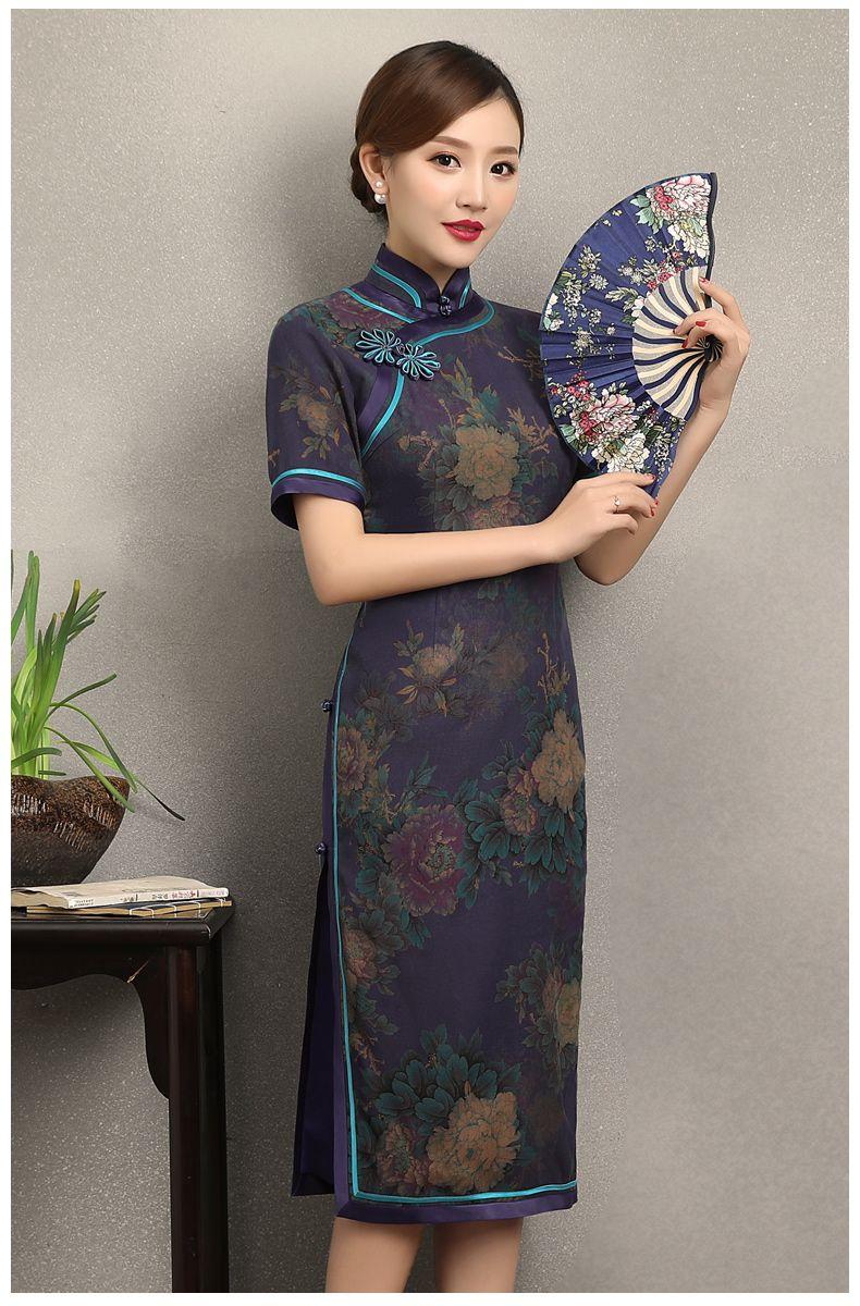 香云纱旗袍:复古改良典雅印花旗袍裙   Cheongsam 50/60s and modern ...