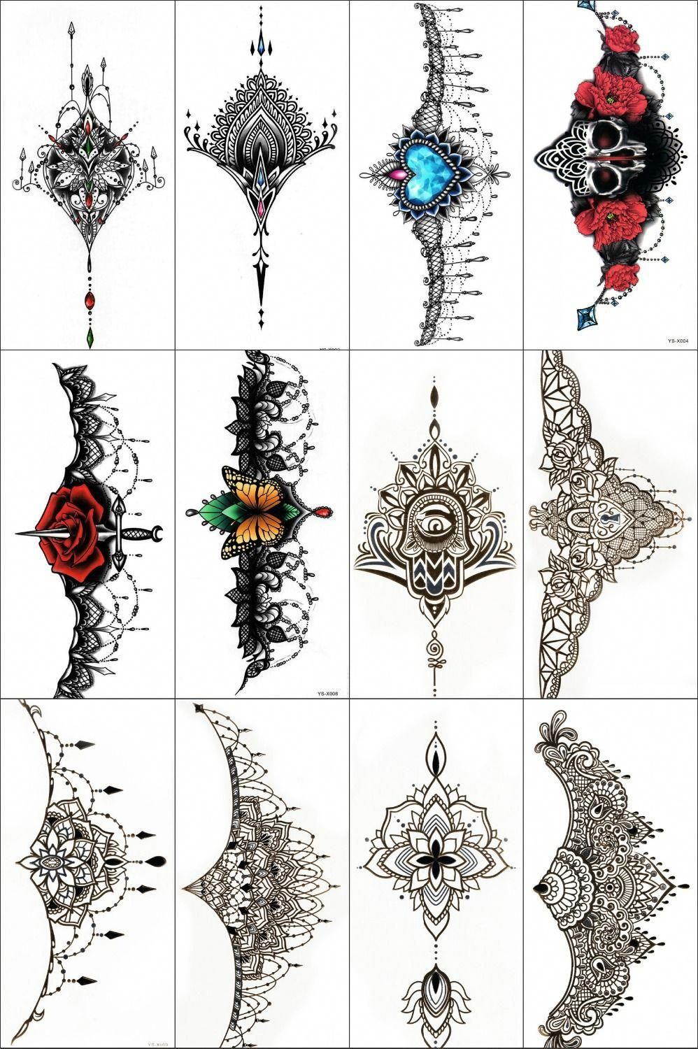 Chest Piece Tattoo Prices: 12pcs Gold Flash Tattoo Metallic Colorful Chest Sticker