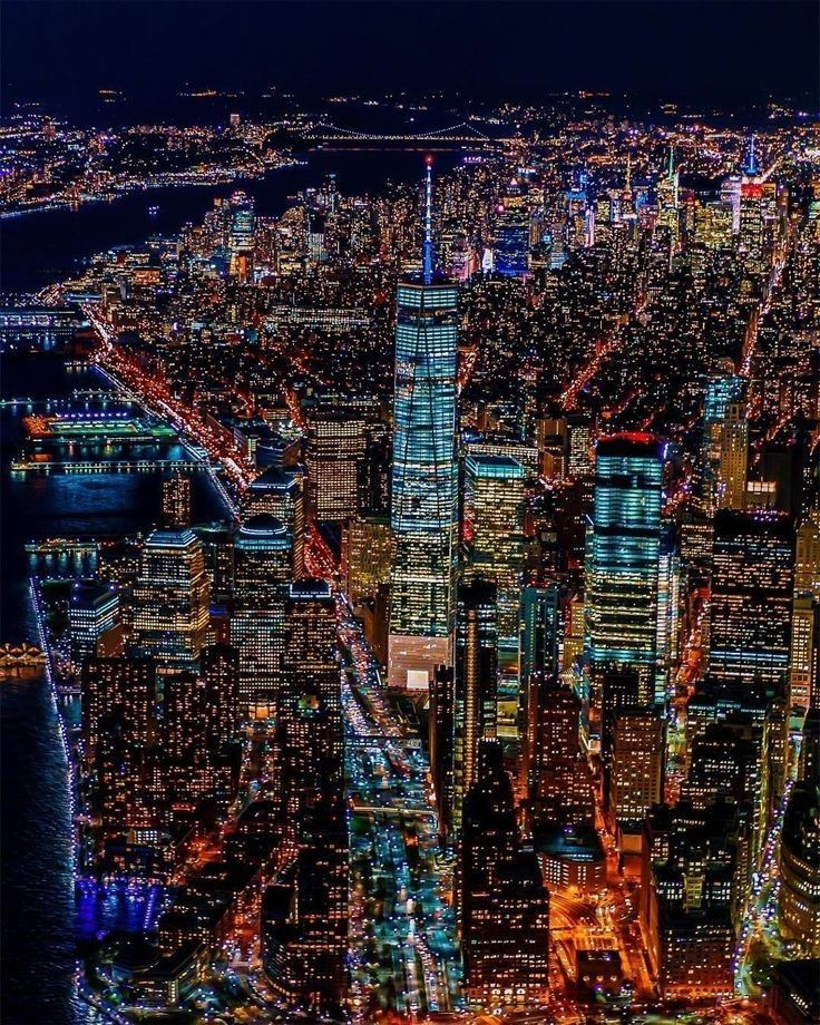 City Lights At Night. City Scape. Aerial View Photography