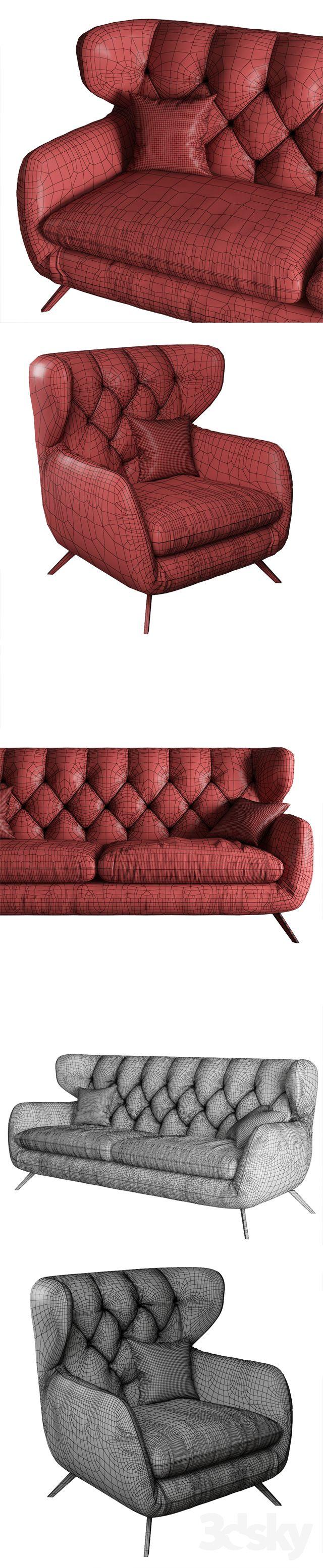 3d Models Sofa 3c Candy Sixty Retro Couch Model 3d Model