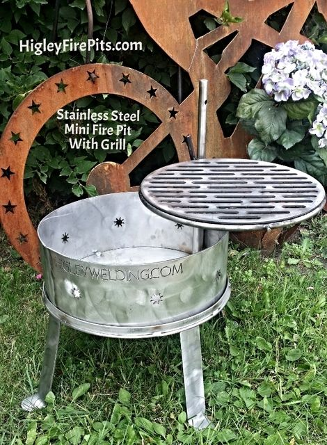 Stainless Steel Mini Fire Pit With Grill. www.HigleyFirePits.com - Stainless Steel Mini Fire Pit With Grill. Www.HigleyFirePits.com