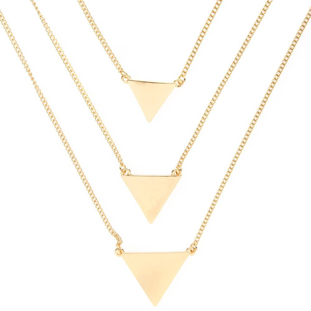 Gold Tiered Triangles Multi-Strand Pendant Necklace | Icing Also ...