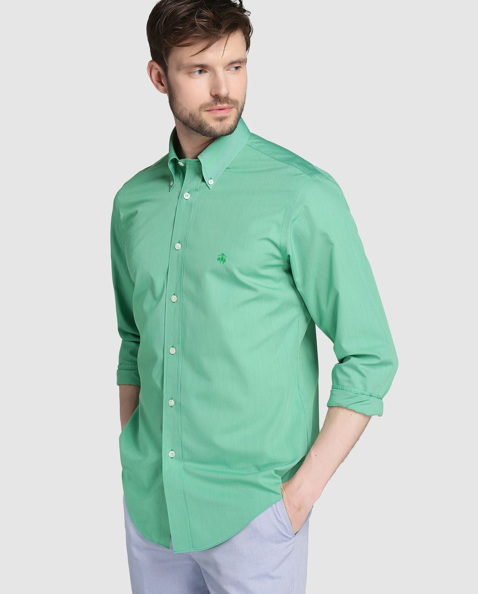 549e61d0de Camisa Regent de hombre Brooks Brothers slim de rayas verde · Brooks  Brothers · Moda ·