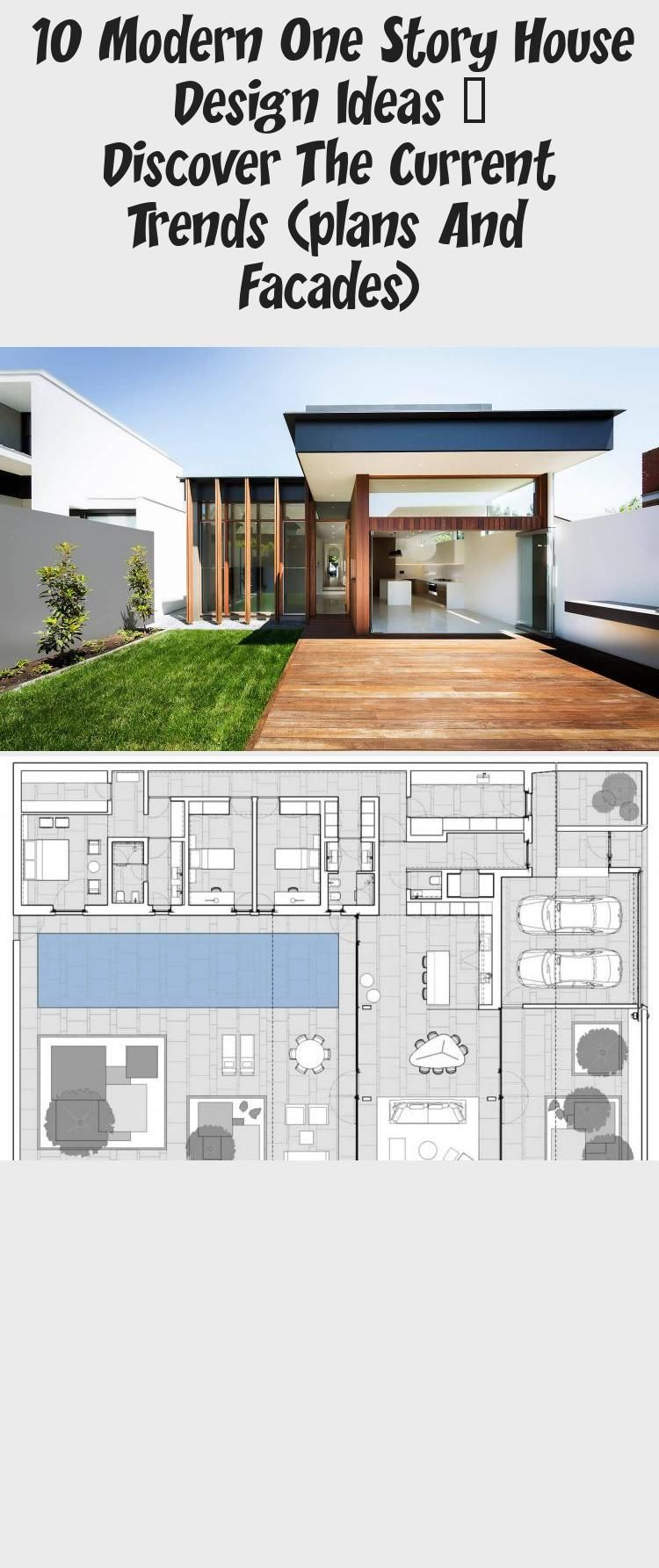 10 Modern One Story House Design Ideas - Discover the Current Trends (Plans  and Facades) - #ModernHouseSketchBuil… in 2020 | Modern house facades, House  design, Story house