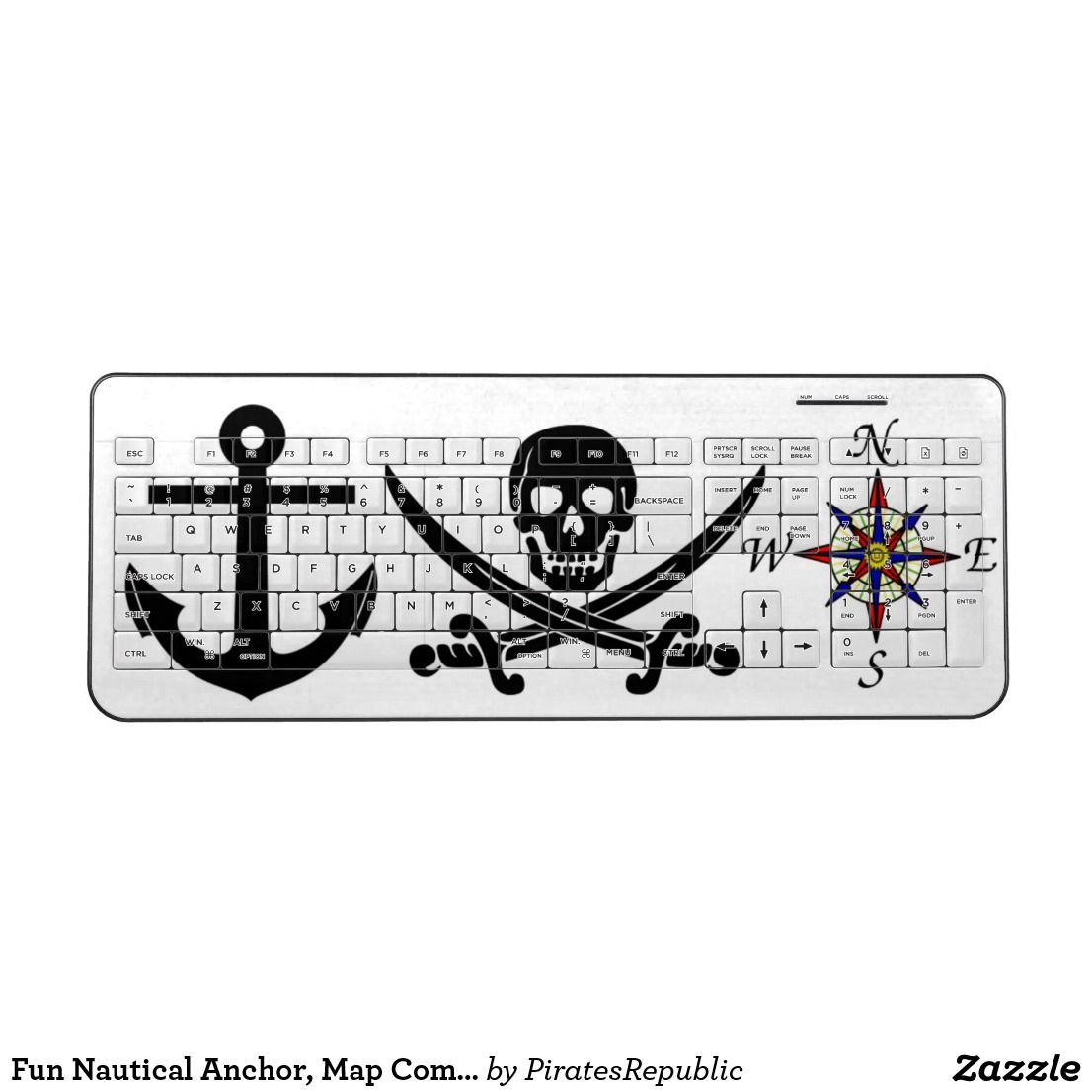 Fun nautical anchor map compass and jolly roger wireless keyboard fun nautical anchor map compass and jolly roger wireless keyboard biocorpaavc Choice Image