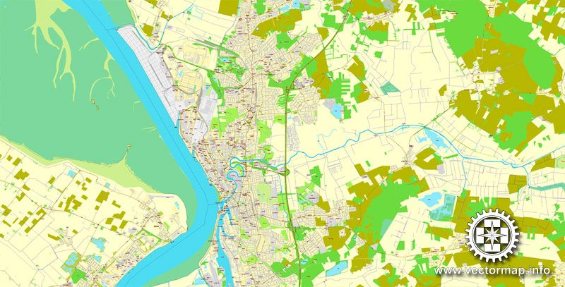 Bremerhaven Germany Printable Vector Street City Plan Map Full