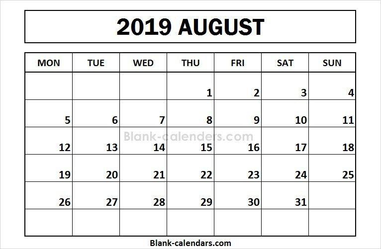 2019 Calendar Printable August - December Printable August 2019 Calendar Monday Start | 2019 Calendar