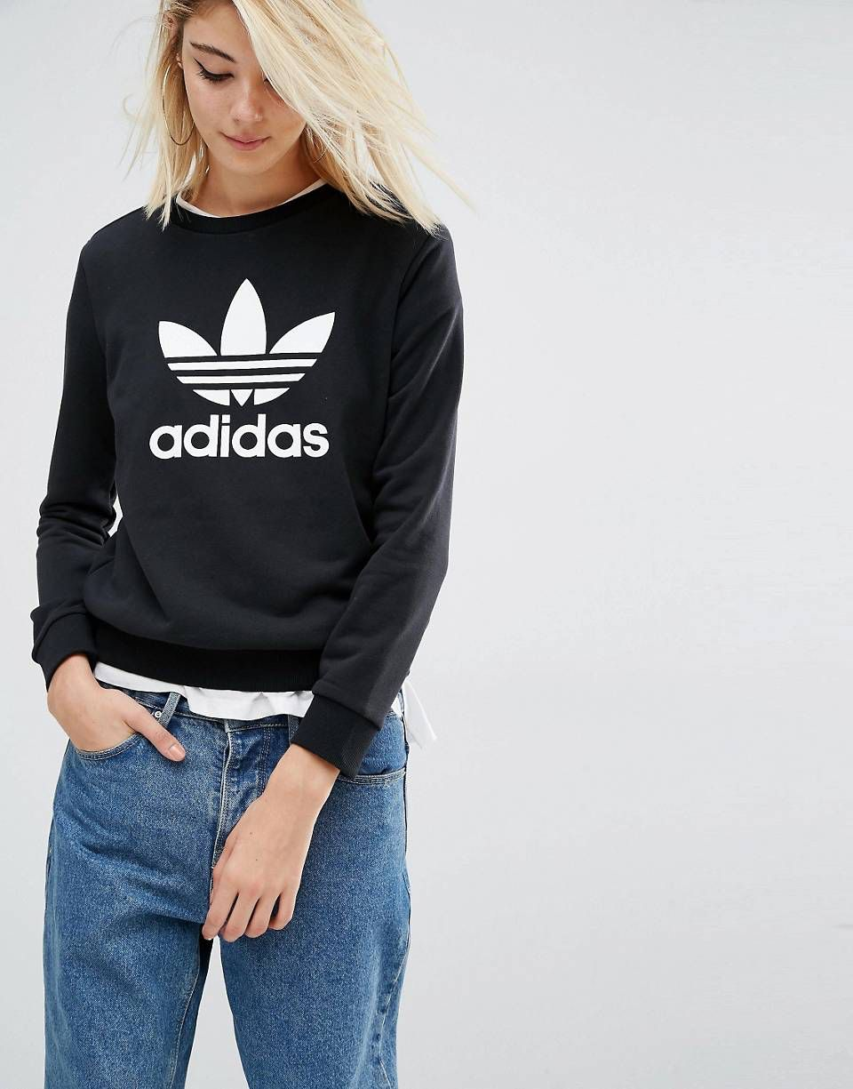 Adidas originals felpa con logo a trifoglio adidas originals