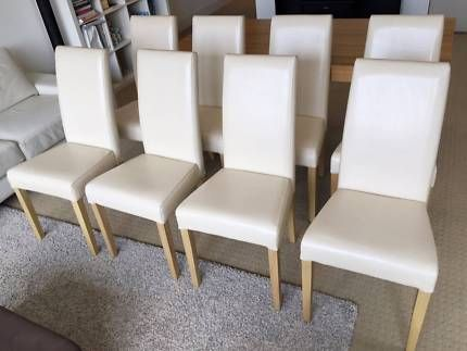 8x Freedom Furniture Dining Chairs Pu Leather Natural Timber Legs