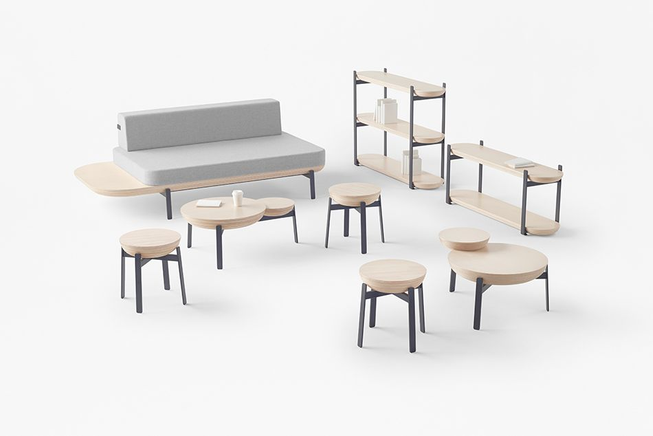 Pleasing Nendos Cofufun Plaza Features Saucers That Reference Andrewgaddart Wooden Chair Designs For Living Room Andrewgaddartcom