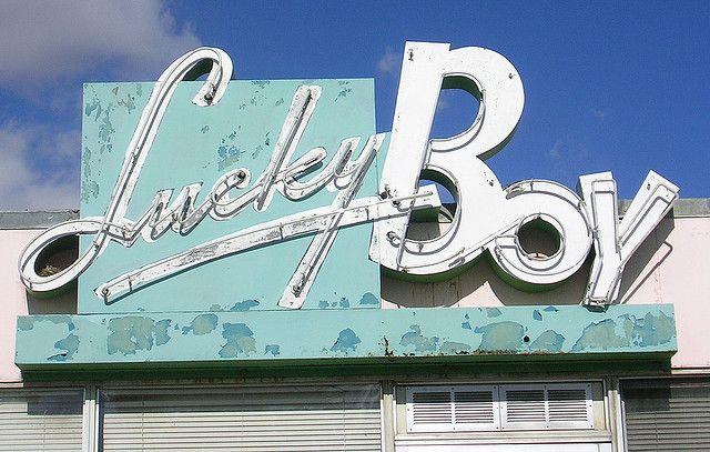 lucky boy restaurant sign.