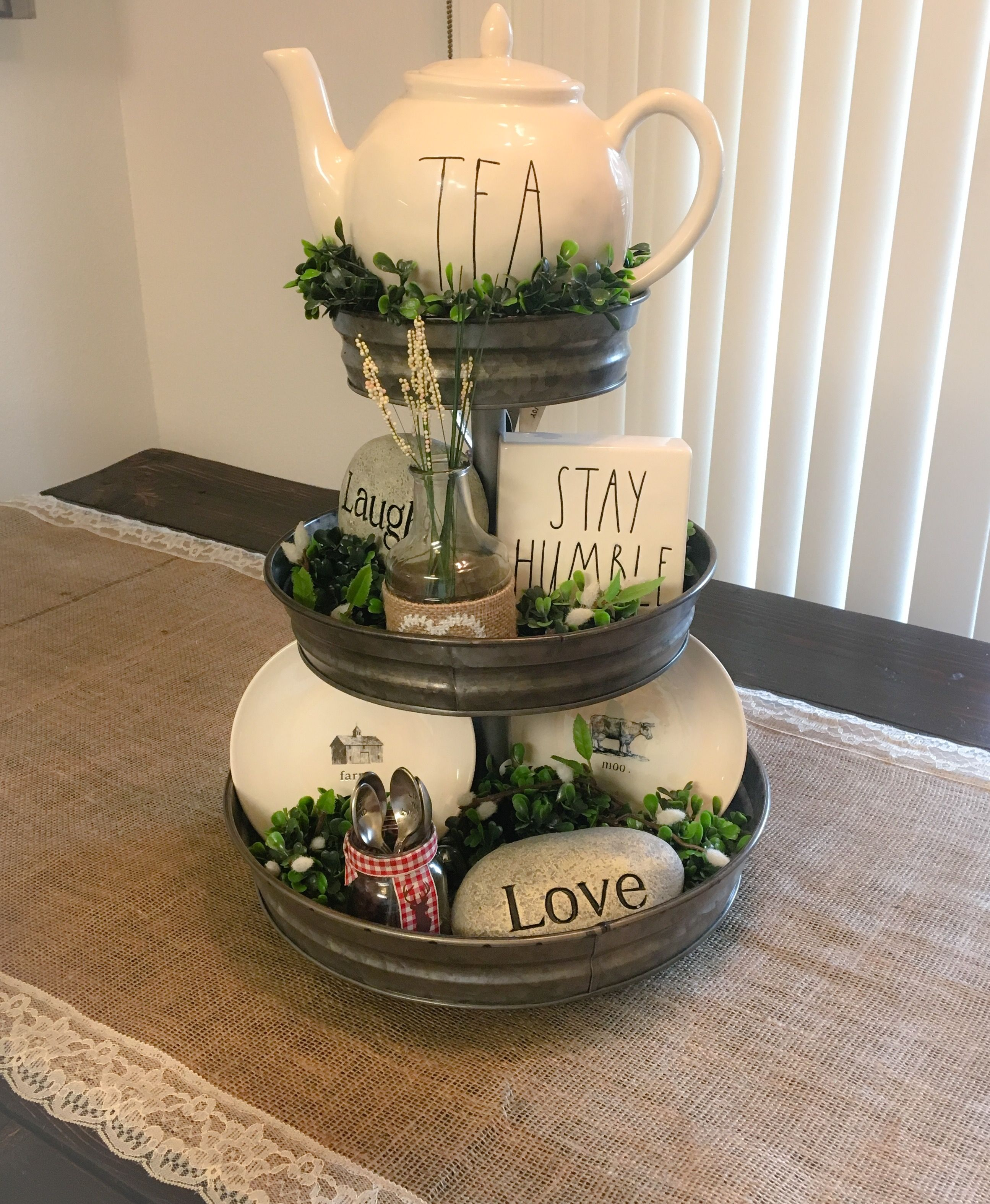My everyday Rae Dunn inspired Farmhouse Table Centerpiece