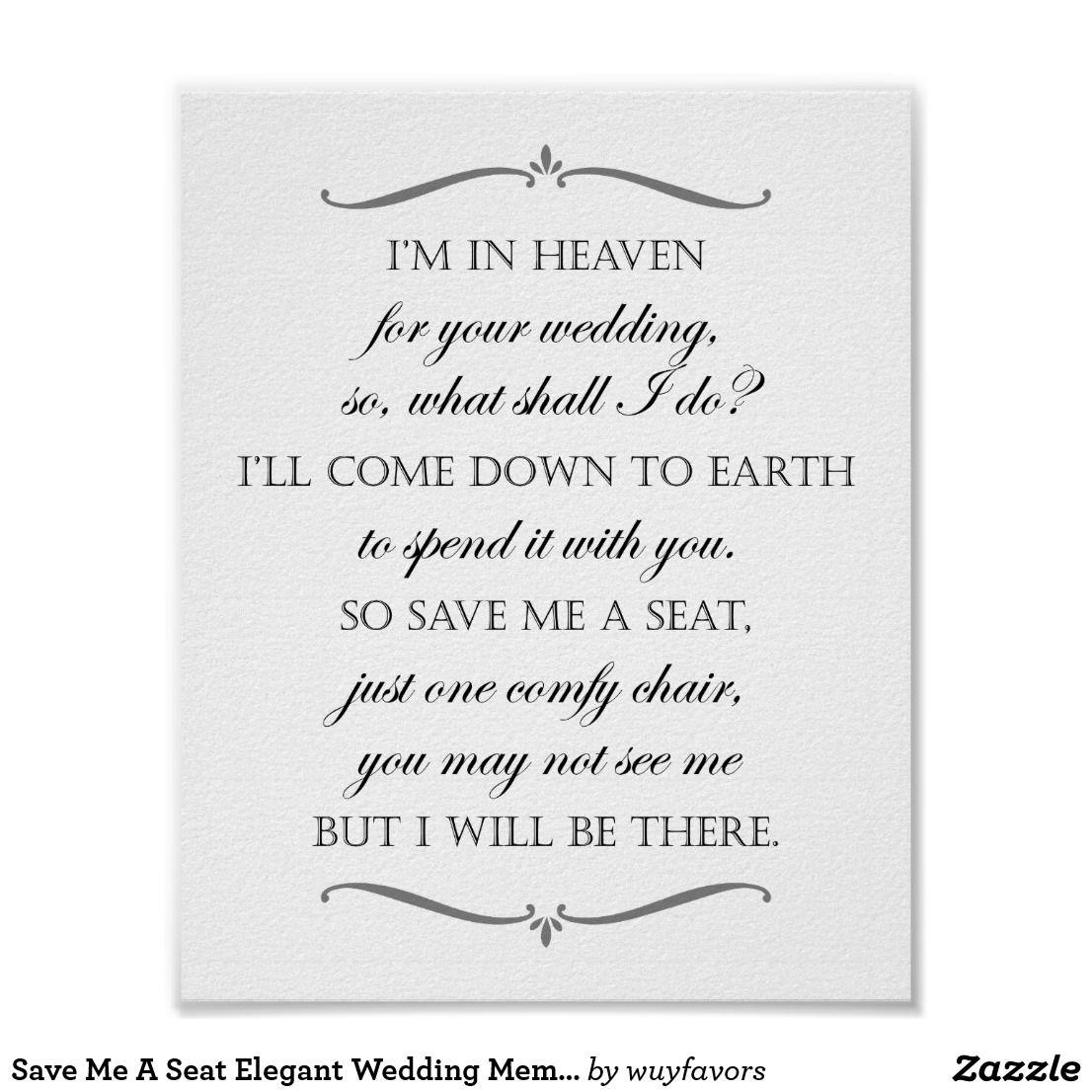Save Me A Seat Elegant Wedding Memorial Chair Poster