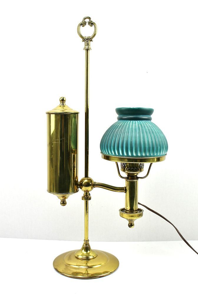 Antique Vintage Brass Adjustable Student Oil Lamp Converted Electric Light Antique Oil Lamps Oil Lamps Lamp