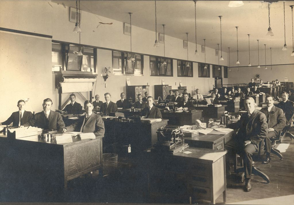 Photograph of postal employees in the Postal Savings