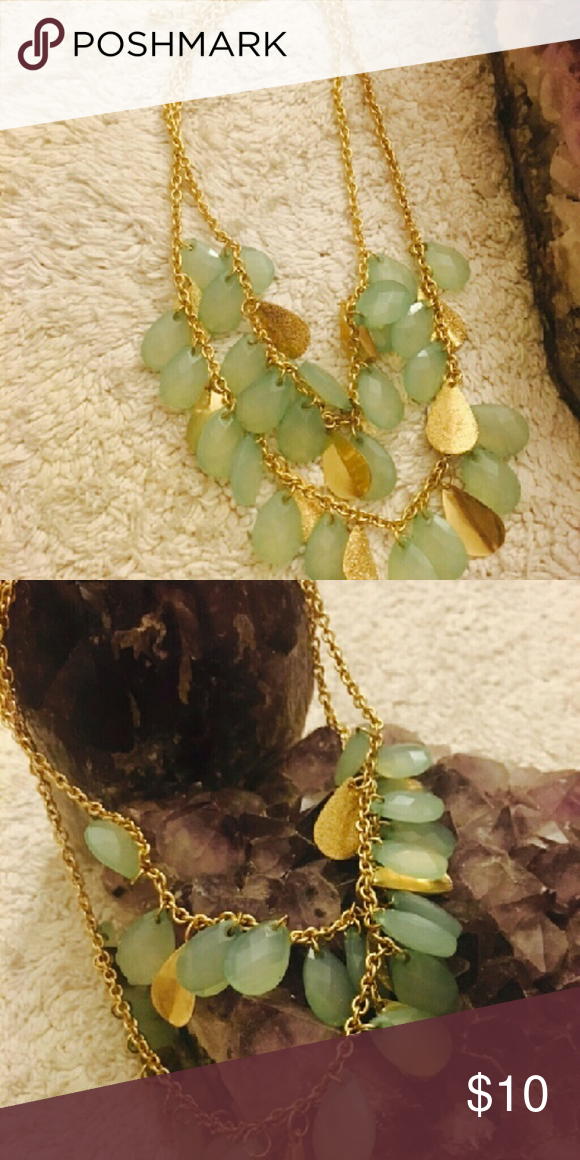 Necklace Green beaded necklace with gold colored chain Jewelry Necklaces