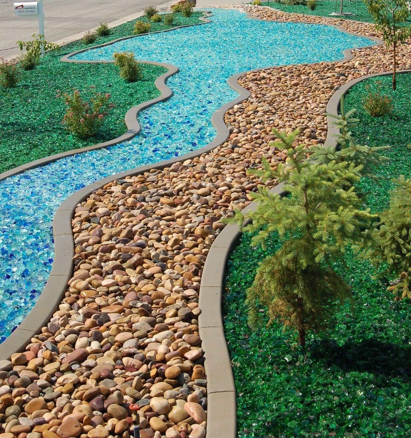 recycled glass mulch backyard