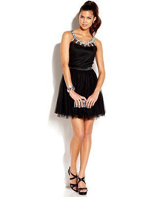 Ruby Rox Juniors\' Rhinestone Tulle A-Line Dress Macy\'s | Prom ...