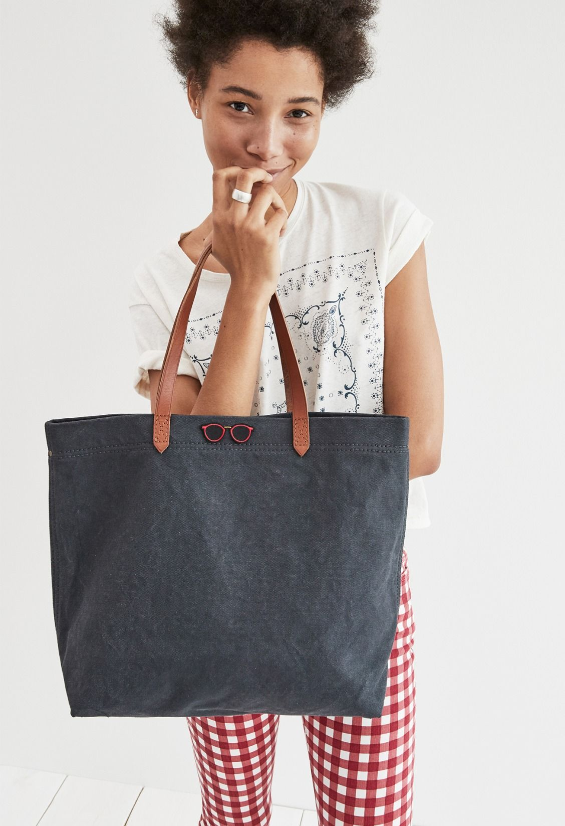415ab9a02 madewell canvas transport tote worn with the bandana print tee + 9