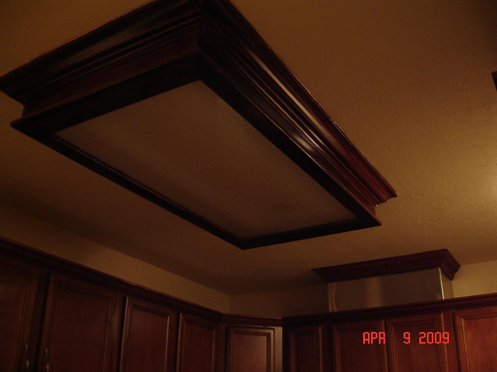 Idea... Frame Ugly Kitchen Ceiling Light With Molding. Fluorescent ...