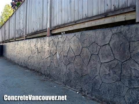 Stamped Concrete Retaining Wall Overlay In Burnaby Bc Canada Www Concretevancouver Net Concrete Retaining Walls Concrete Wall Cement Texture