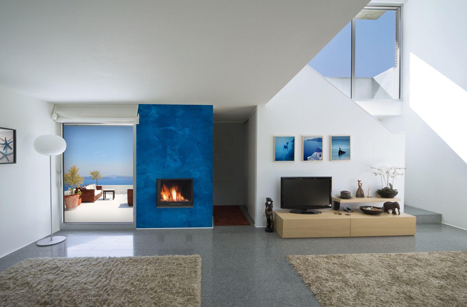 Decoración de pared de chimenea en hall y salón con Estuco Mítiko ...